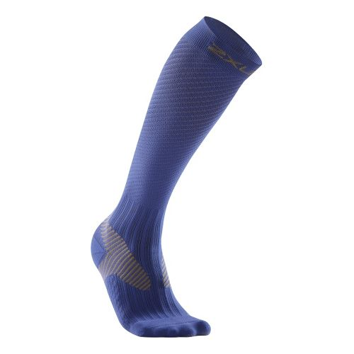 Mens 2XU Elite Compression Sock Injury Recovery - Blue/Grey L