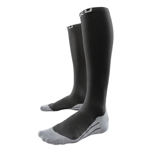 Womens 2XU Compression Race Sock Injury Recovery - Black/Grey XS