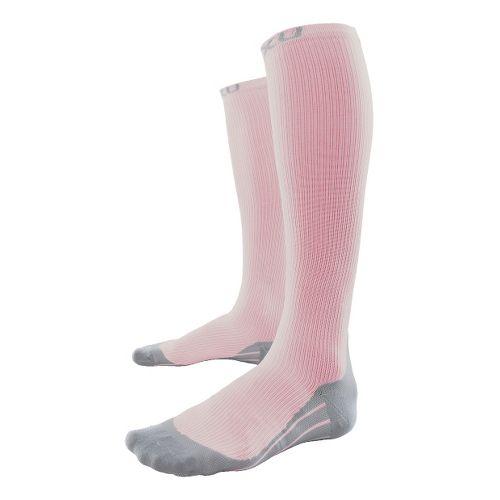 Womens 2XU Compression Race Sock Injury Recovery - Blush/Grey L