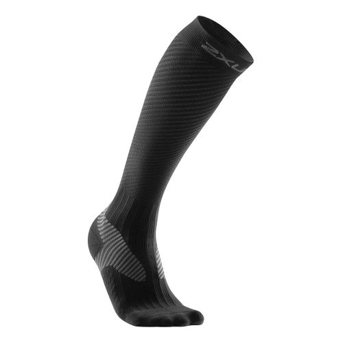 Womens 2XU Elite Compression Sock Injury Recovery - Black/Grey L
