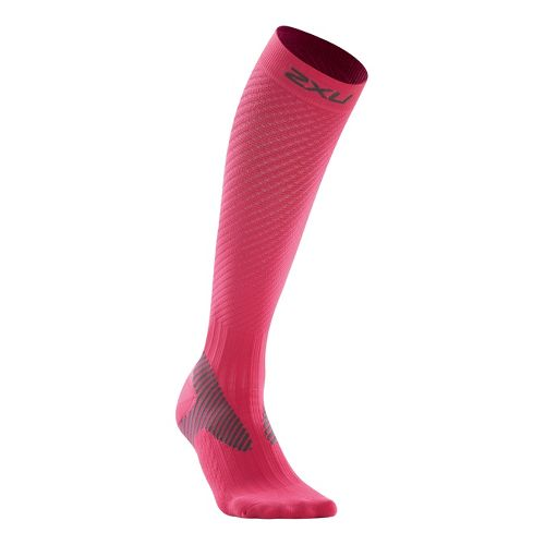 Womens 2XU Elite Compression Sock Injury Recovery - Pink/Grey L