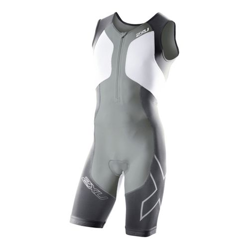 Mens 2XU G:2 Compression Trisuit UniSuits - Charcoal/White S