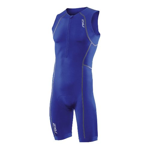 Mens 2XU Active Triathlon UniSuits - Nautic Blue/Nautic Blue M