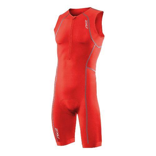 Mens 2XU Active Triathlon UniSuits - Neon Red/Neon Red XL