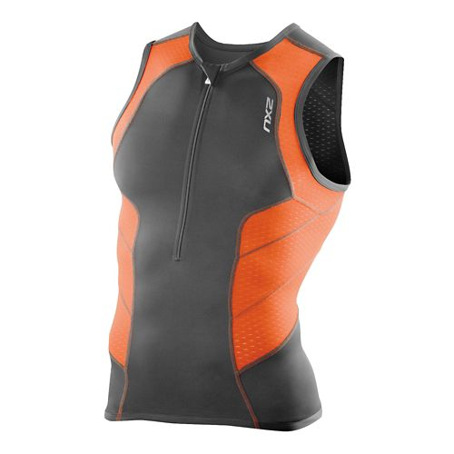 Mens 2XU Perform Tri Singlets Technical Tops - Charcoal/Lotus Orange L