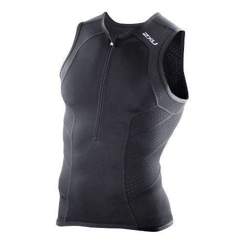 Mens 2XU Perform Tri Singlets Technical Tops - Black/Black M