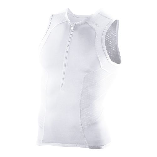 Mens 2XU Perform Tri Singlets Technical Tops - White/White M
