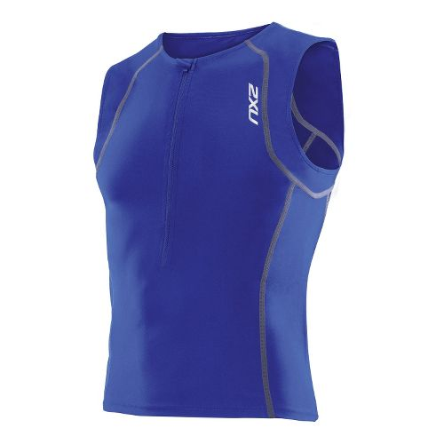 Womens 2XU Active Tri Singlets Technical Tops - Nautic Blue/Nautic Blue XL