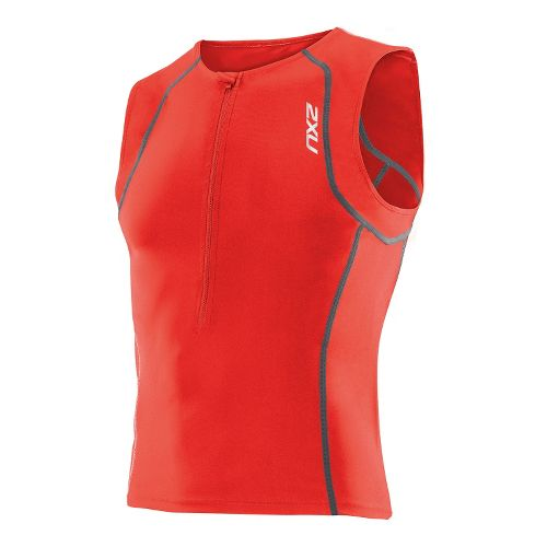 Womens 2XU Active Tri Singlets Technical Tops - Neon Red/Neon Red XL
