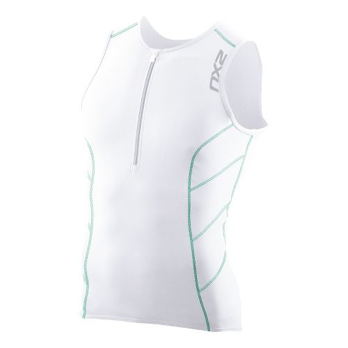 Mens 2XU G:2 Long Distance Tri Singlets Technical Tops - White/Mint Green L