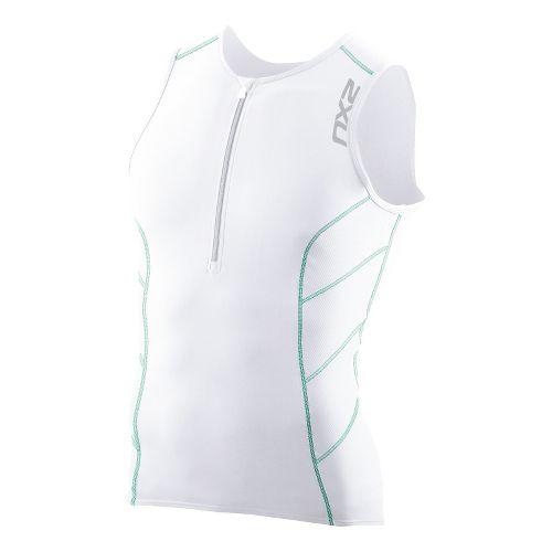 Mens 2XU G:2 Long Distance Tri Singlets Technical Tops - White/Mint Green XXL