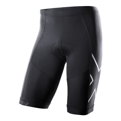 Mens 2XU G:2 Compression Tri Fitted Shorts - Black/Black S