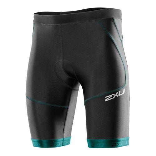 Mens 2XU Perform Tri Short 9 Fitted Shorts - Black/Lagoon L