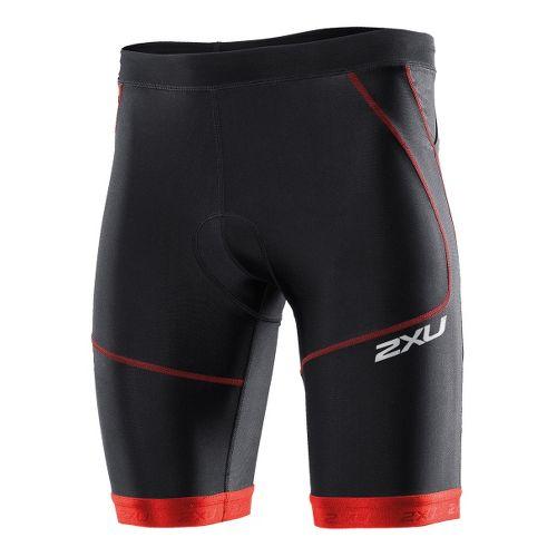 Mens 2XU Perform Tri Short 9 Fitted Shorts - Black/Scarlet XL