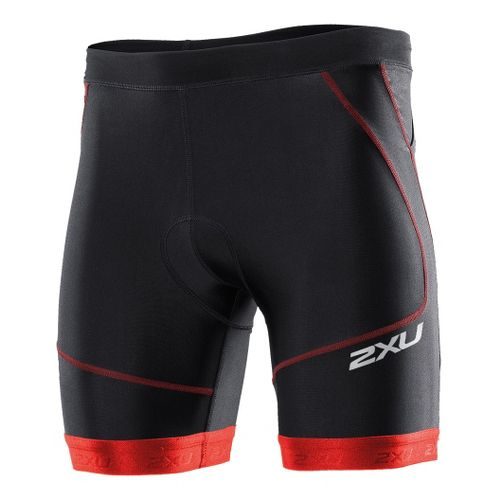 Mens 2XU Perform Tri 7 Fitted Shorts - Black/Neon Red M