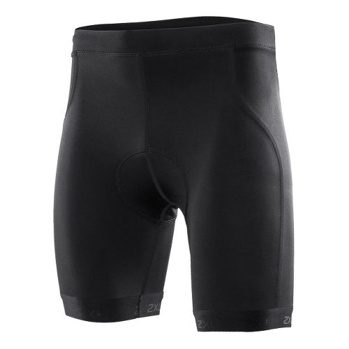 Mens 2XU Active Tri Fitted Shorts - Black/Black XL