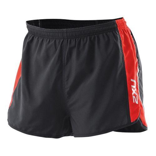 Mens 2XU Training Run Short - Short Leg Lined Shorts - Black/Neon Red XXL