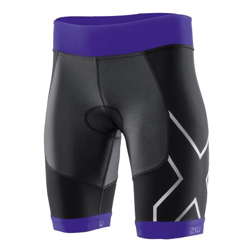 Womens 2XU G:2 Compression Tri Fitted Shorts - Black/Purple Hue M