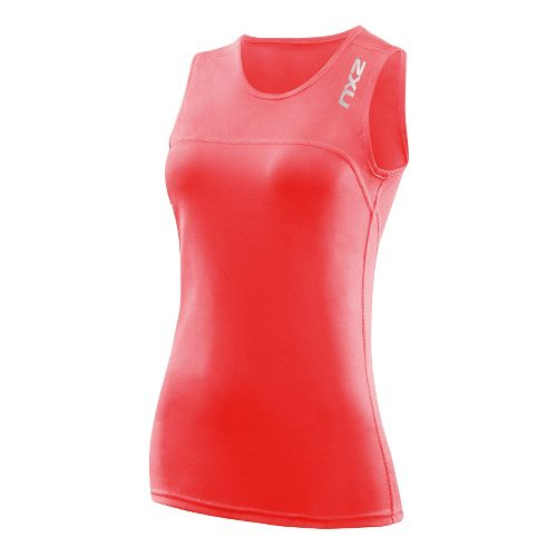 Womens 2XU Active Run Tanks Technical Tops - Neon Coral/Neon Coral XS