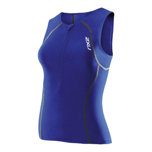 Womens 2XU Women's Active Tri Singlets Technical Tops - Nautic Blue/Nautic Blue L