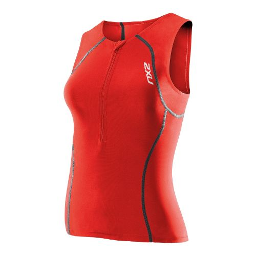 Womens 2XU Women's Active Tri Singlets Technical Tops - Neon Red/Neon Red XS