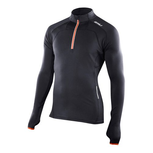 Mens 2XU G:2 Micro Thermal Top Long Sleeve 1/2 Zip Technical Tops - Black/Blazing Orange ...