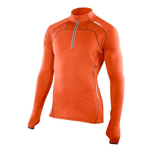 Mens 2XU G:2 Micro Thermal Top Long Sleeve 1/2 Zip Technical Tops - Blazing Orange/Charcoal ...