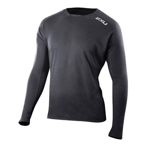 Mens 2XU G:2 Comp Long Sleeve No Zip Technical Tops - Black/Black S