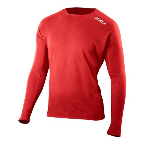 Mens 2XU G:2 Comp Long Sleeve No Zip Technical Tops - Flame/Flame XXL
