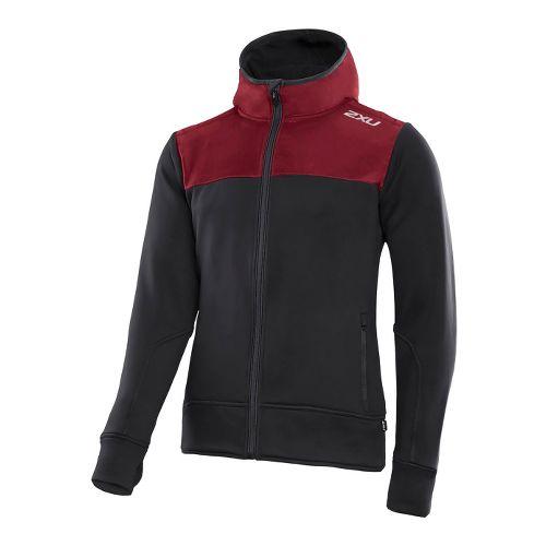 Mens 2XU G:2 Active Fleece Cruizer Outerwear Jackets - Black/Burgundy XXL