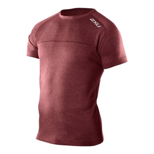 Mens 2XU Movement Short Sleeve Top Technical Tops - Burgundy Marle/Burgundy Marle L