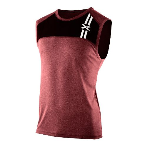 Mens 2XU Movement Singlets Technical Tops - Burgundy Marle/Burgundy Marle XL