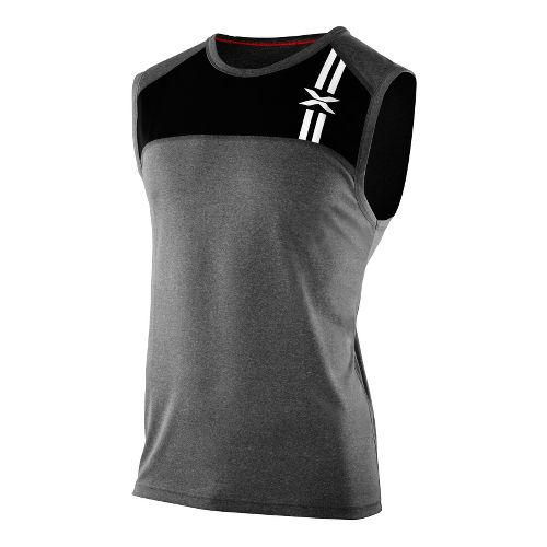 Mens 2XU Movement Singlets Technical Tops - Black Marle/Black Marle S