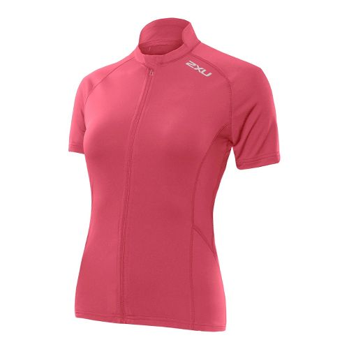 Womens 2XU Thermo Jersey Short Sleeve Technical Tops - Coral Rose/Coral Rose XL