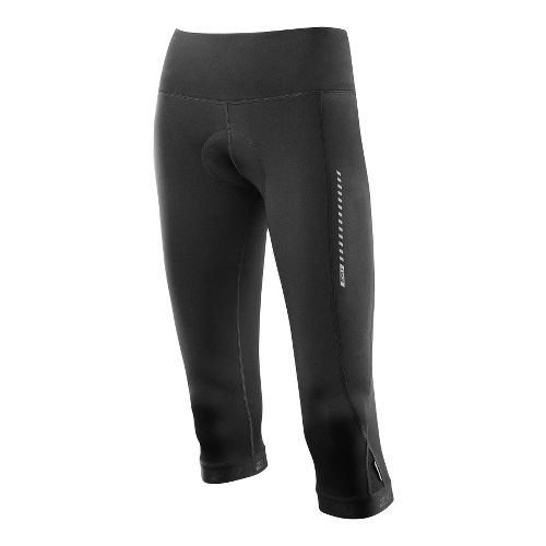 Womens 2XU 3/4 Cycle Fitted Tights - Black/Black M