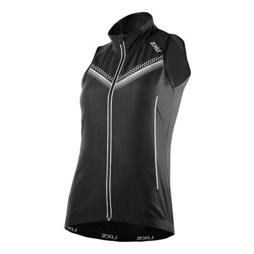 Womens 2XU Microclimate Reflector Outerwear Vests - Black/Black M