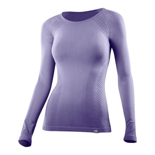 Womens 2XU G:2 Engineered Knit Baselayer Long Sleeve No Zip Technical Tops - Lavender/Lavender ...