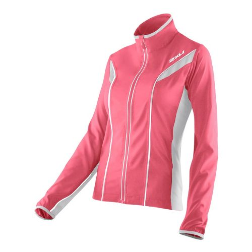 Womens 2XU 360 Action Outerwear Jackets - Coral Rose/Concrete Grey M