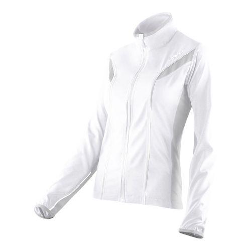 Womens 2XU 360 Action Outerwear Jackets - White/Concrete Grey L