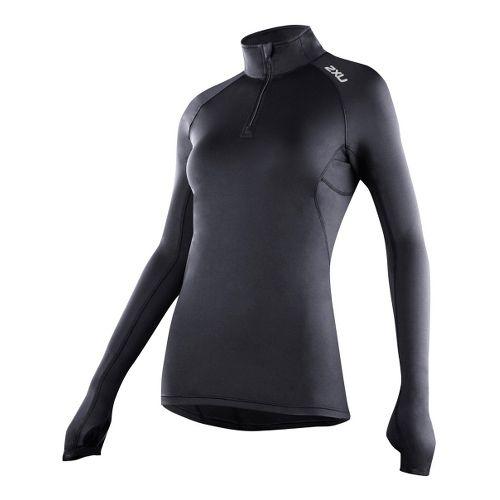 Womens 2XU G:2 Micro Thermal Top Long Sleeve 1/2 Zip Technical Tops - Black/Black XL ...