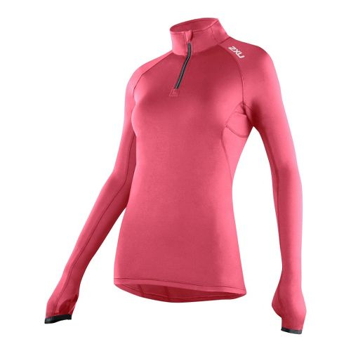 Womens 2XU G:2 Micro Thermal Top Long Sleeve 1/2 Zip Technical Tops - Coral Rose/Charcoal ...