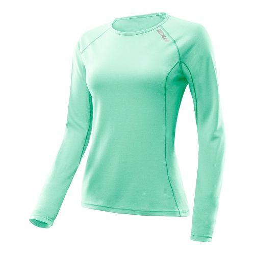 Womens 2XU G:2 Comp Long Sleeve No Zip Technical Tops - Ice Green/Ice Green XL ...
