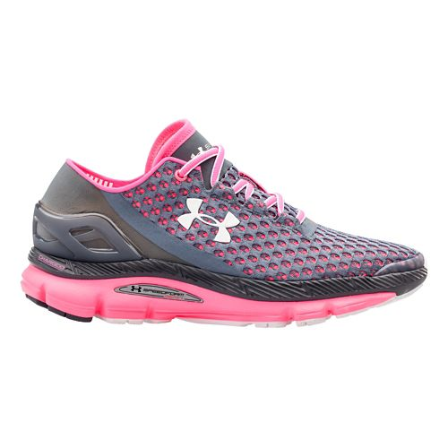 Womens Under Armour Speedform Gemini Running Shoe - Gravel/Cerise 5.5