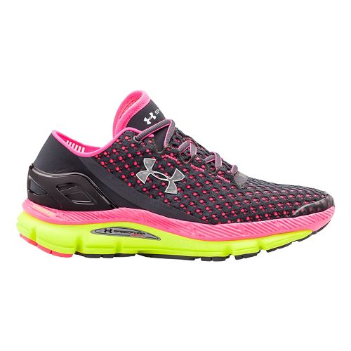 Womens Under Armour Speedform Gemini Running Shoe - Charcoal/Pink 10.5