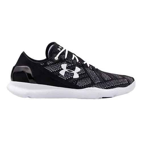 Mens Under Armour Speedform Apollo Vent Running Shoe - Black/White 6.5
