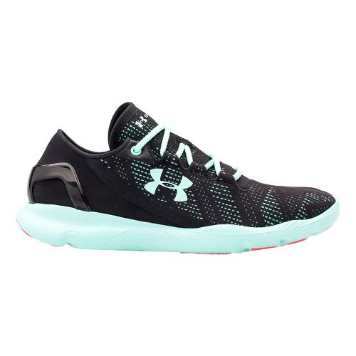 Womens Under Armour Speedform Apollo Vent Running Shoe - Black/Mint 7.5