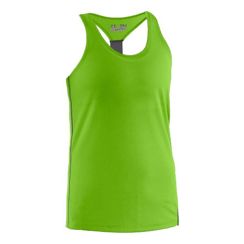 Womens Under Armour UA Fly-By Stretch Mesh Tank Technical Tops - Green M