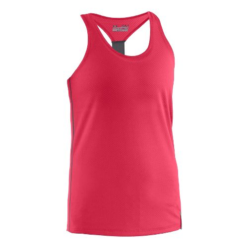 Womens Under Armour UA Fly-By Stretch Mesh Tank Technical Tops - Hibiscus M