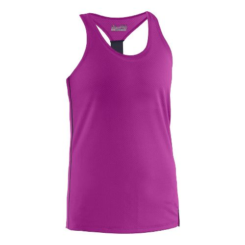 Womens Under Armour UA Fly-By Stretch Mesh Tank Technical Tops - Neon Purple L