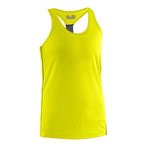 Womens Under Armour UA Fly-By Stretch Mesh Tank Technical Tops - Neon Yellow L